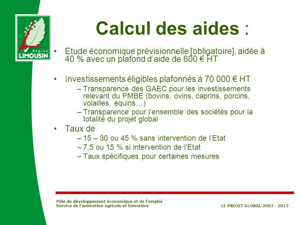 Pôle du développement économique et de lemploi Service de lanimation agricole et forestière LE PROJET GLOBAL 2007 - 2013 Calcul des aides : Etude écon