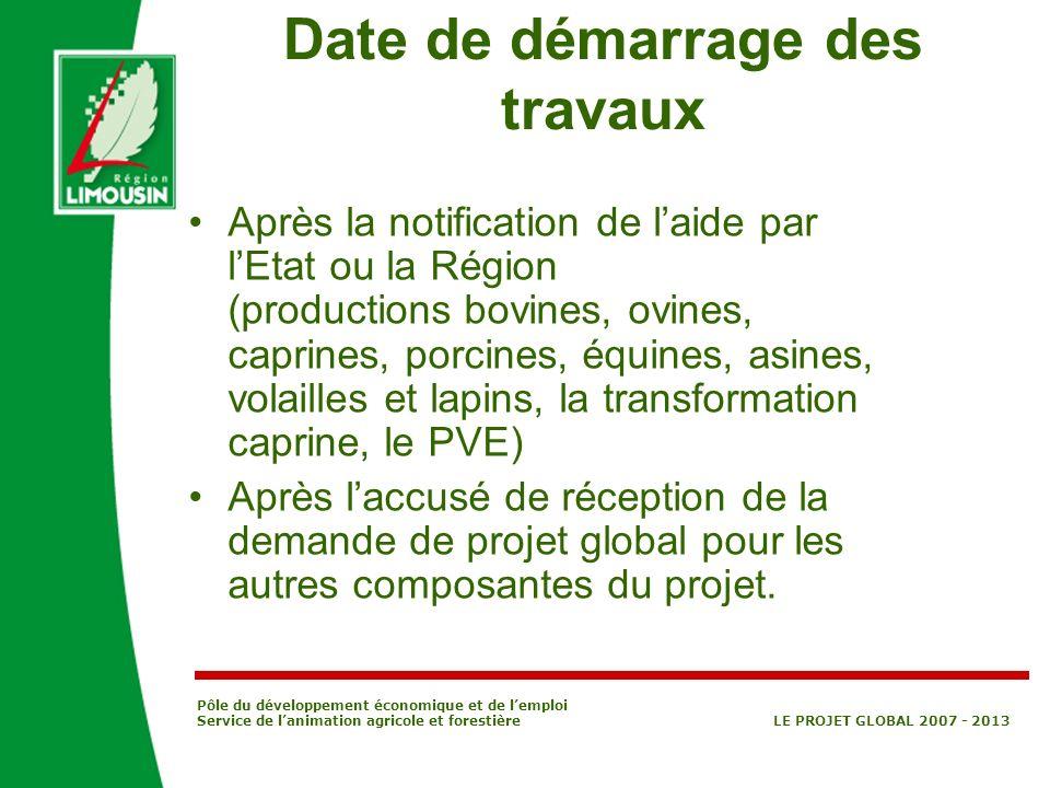 Pôle du développement économique et de lemploi Service de lanimation agricole et forestière LE PROJET GLOBAL 2007 - 2013 Date de démarrage des travaux