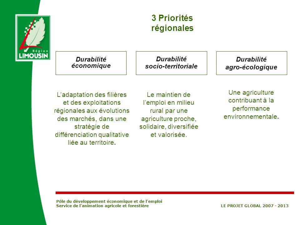 Pôle du développement économique et de lemploi Service de lanimation agricole et forestière LE PROJET GLOBAL 2007 - 2013 3 Priorités régionales Durabi