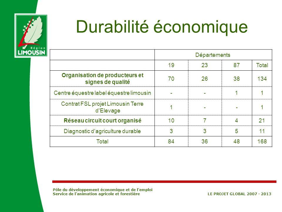 Pôle du développement économique et de lemploi Service de lanimation agricole et forestière LE PROJET GLOBAL 2007 - 2013 Durabilité économique Départe