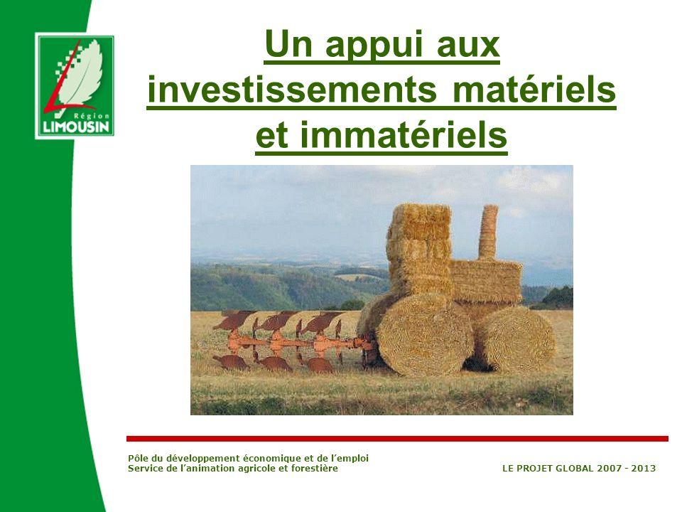 Pôle du développement économique et de lemploi Service de lanimation agricole et forestière LE PROJET GLOBAL 2007 - 2013 PVE [Plan Végétal Environ- nement] Investissements prévus par le PVE, pour Production Fruitière Intégrée [PFI] ou Protection Biologique Intégrée [PBI] ou Agriculture Biologique [AB] -Zone retenue par les Agences de lEau: Aide de 20 % en complément de laide de lEtat ou de lAgence de leau -Hors zone retenue par les Agences de lEau Taux de base : 7,5 % Taux durabilité : + 7,5 % En complément des aides de lEtat Investissements éligibles