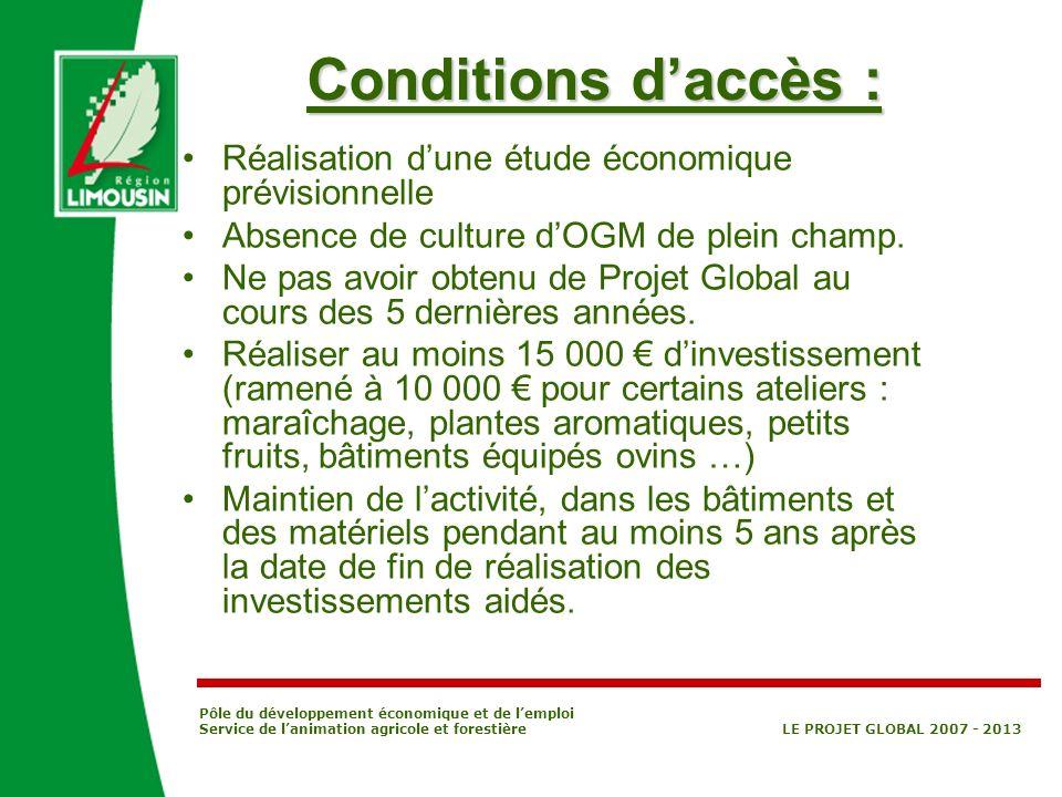 Pôle du développement économique et de lemploi Service de lanimation agricole et forestière LE PROJET GLOBAL 2007 - 2013 Conditions daccès : Réalisati