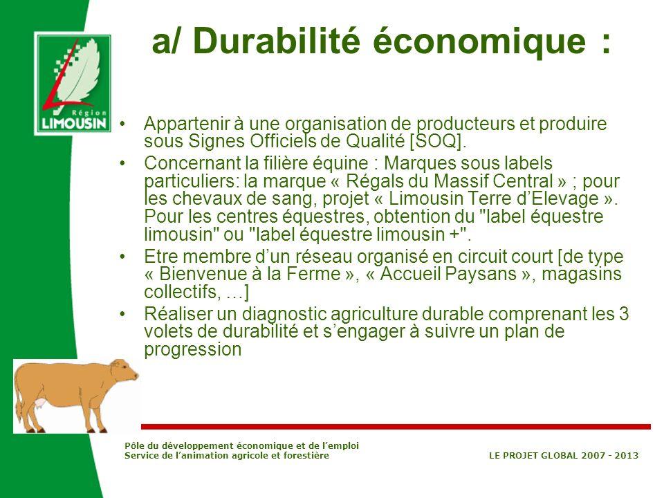 Pôle du développement économique et de lemploi Service de lanimation agricole et forestière LE PROJET GLOBAL 2007 - 2013 a/ Durabilité économique : Ap