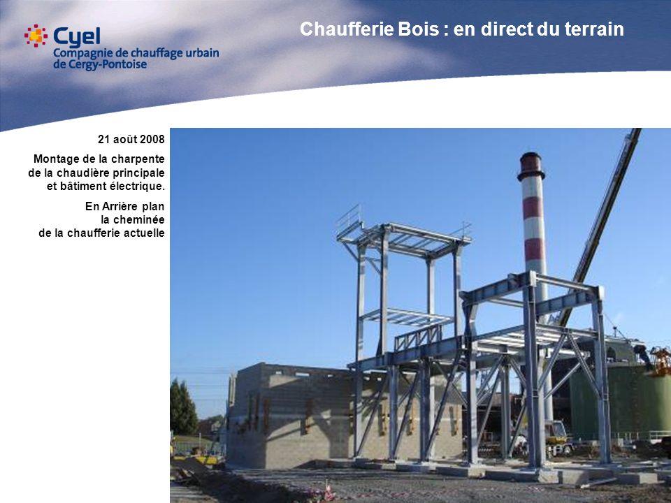 21 août 2008 Montage de la charpente de la chaudière principale et bâtiment électrique. En Arrière plan la cheminée de la chaufferie actuelle Chauffer