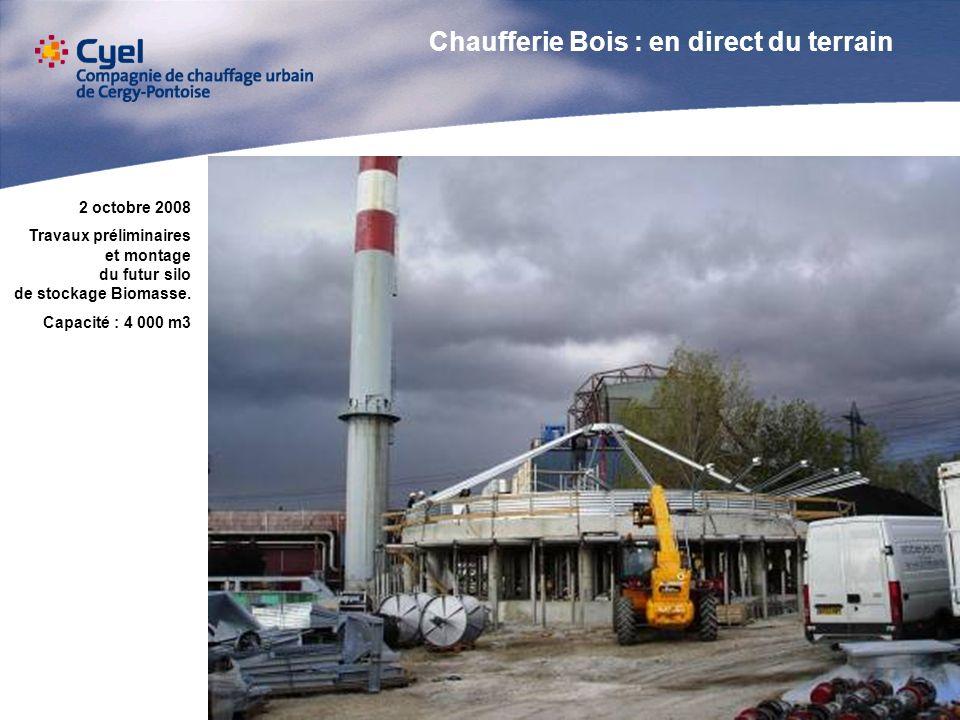22 octobre 2008 Construction du convoyeur à bandes dalimentation chaudière Longueur 100 m Dénivelé : 21 m Débit max : 200 m3 / H En arrière plan, le silo Biomasse en cours dachèvement.