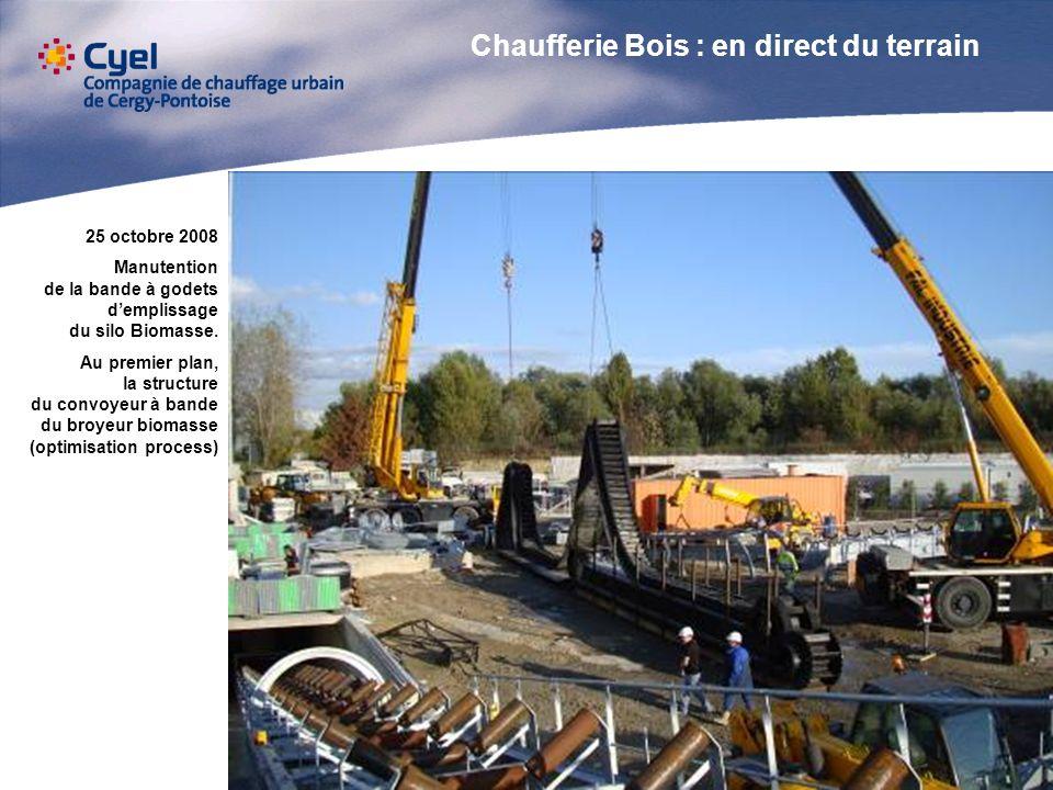 25 octobre 2008 Manutention de la bande à godets demplissage du silo Biomasse. Au premier plan, la structure du convoyeur à bande du broyeur biomasse