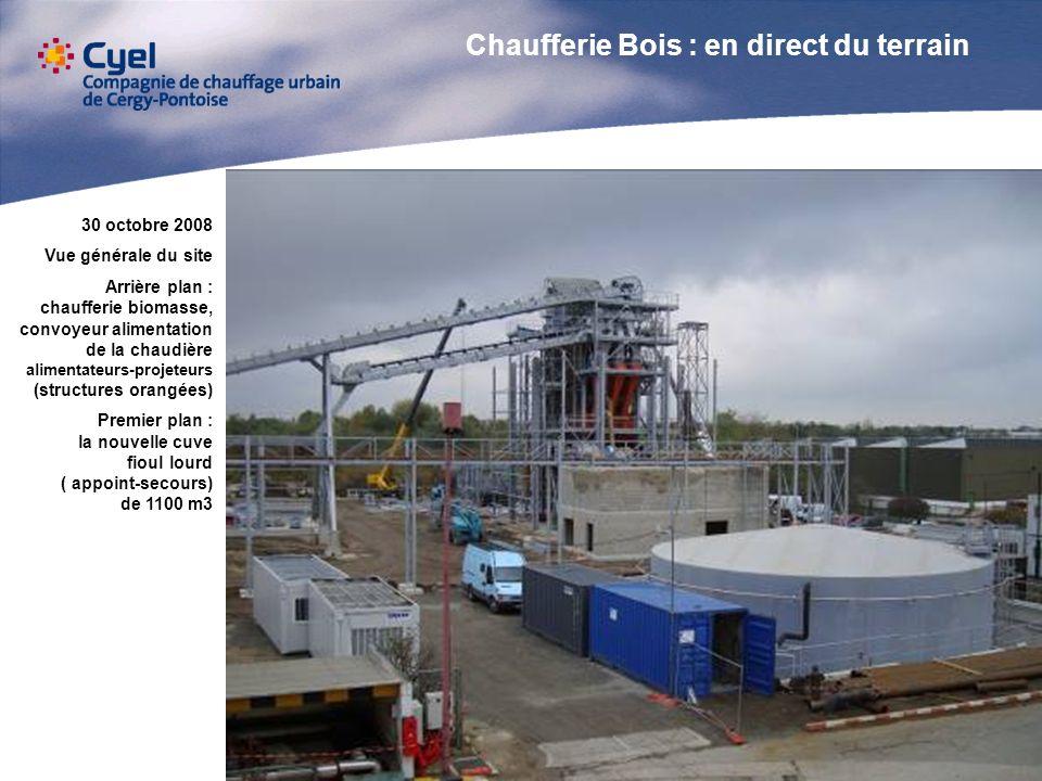 30 octobre 2008 Vue générale du site Arrière plan : chaufferie biomasse, convoyeur alimentation de la chaudière alimentateurs-projeteurs (structures o
