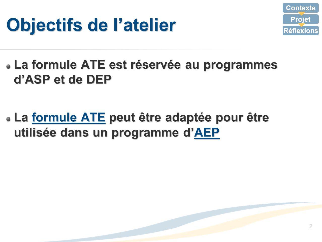 Contexte Projet Réflexions 2 Objectifs de latelier La formule ATE est réservée au programmes dASP et de DEP La formule ATE peut être adaptée pour être