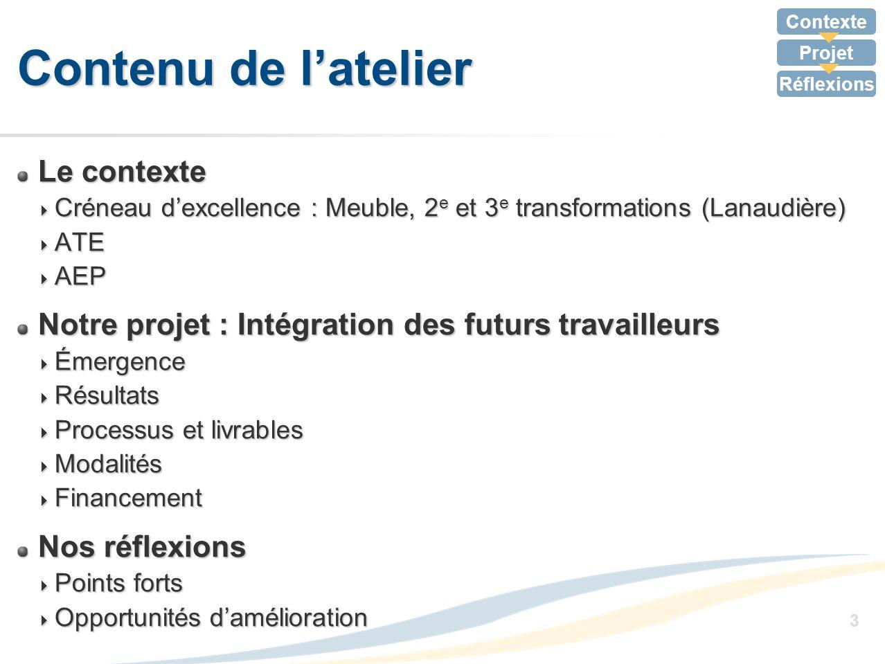Contexte Projet Réflexions 14 Développement des compétences