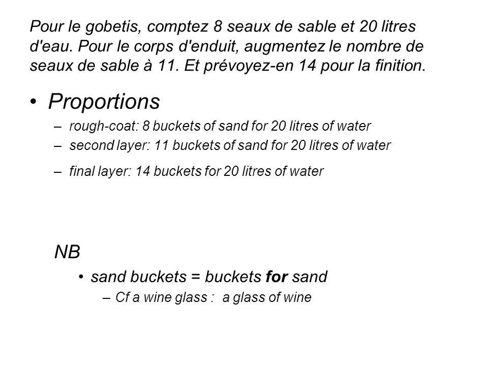 Pour le gobetis, comptez 8 seaux de sable et 20 litres d'eau. Pour le corps d'enduit, augmentez le nombre de seaux de sable à 11. Et prévoyez-en 14 po