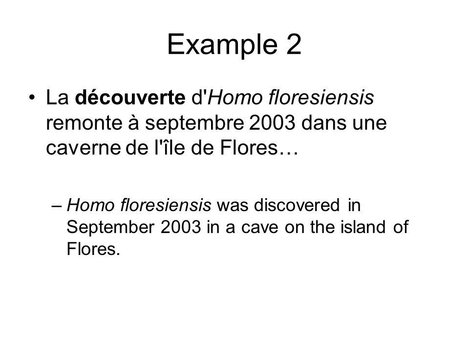 Example 2 La découverte d'Homo floresiensis remonte à septembre 2003 dans une caverne de l'île de Flores… –Homo floresiensis was discovered in Septemb