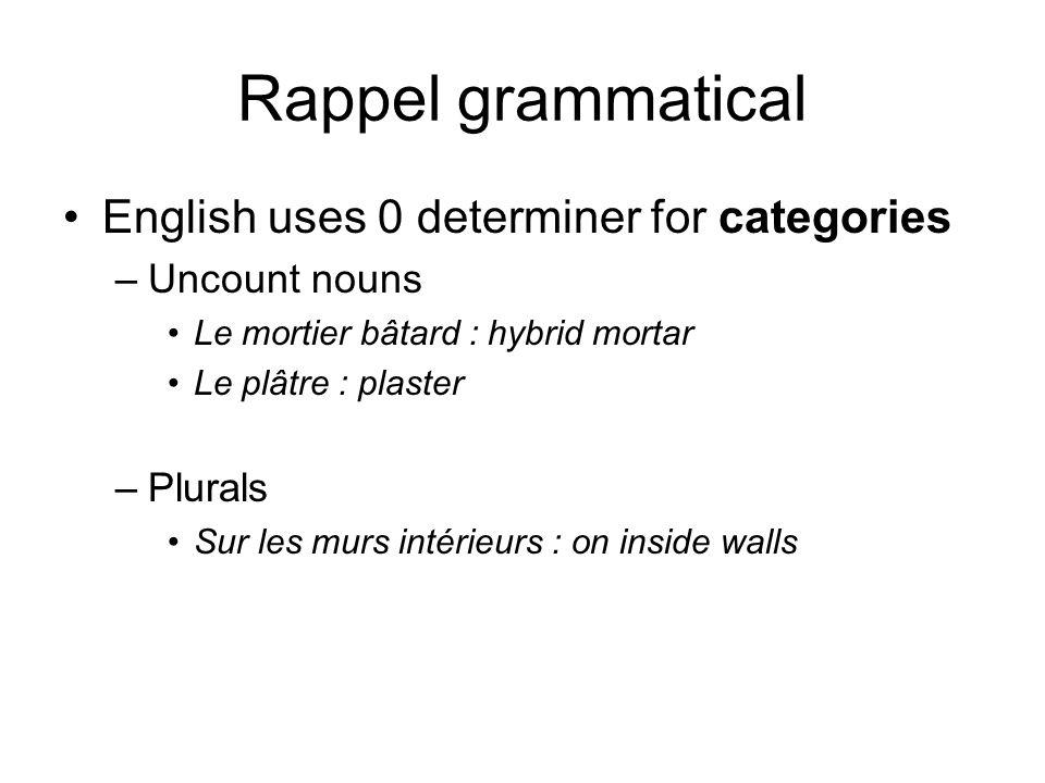 Rappel grammatical English uses 0 determiner for categories –Uncount nouns Le mortier bâtard : hybrid mortar Le plâtre : plaster –Plurals Sur les murs