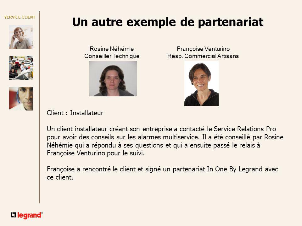 SERVICE CLIENT Un autre exemple de partenariat Rosine Néhémie Conseiller Technique Françoise Venturino Resp.