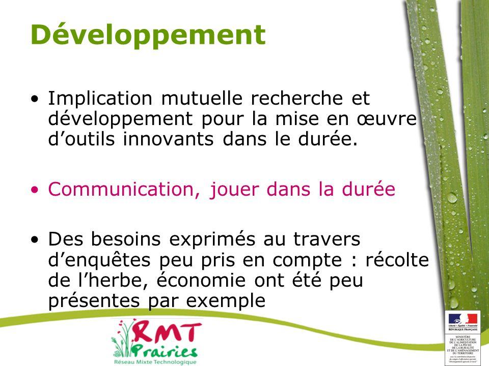 Développement Implication mutuelle recherche et développement pour la mise en œuvre doutils innovants dans le durée.