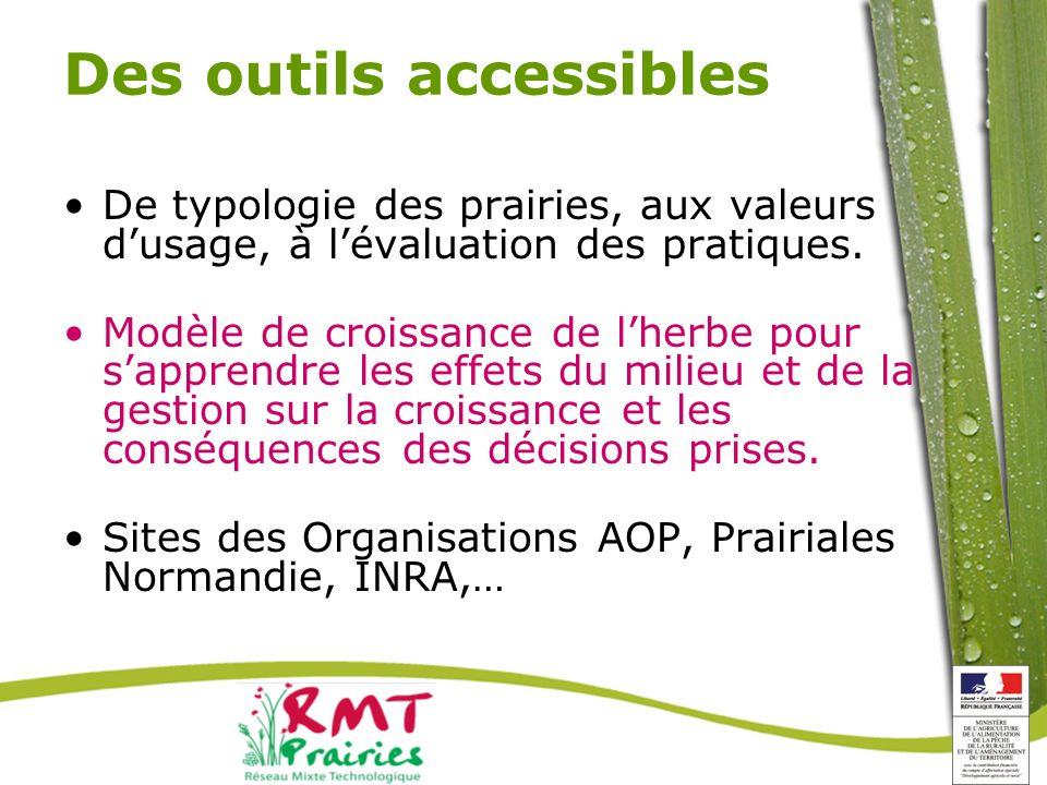 Des outils accessibles De typologie des prairies, aux valeurs dusage, à lévaluation des pratiques.