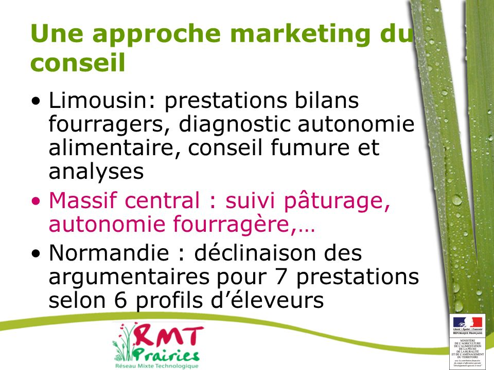 Une approche marketing du conseil Limousin: prestations bilans fourragers, diagnostic autonomie alimentaire, conseil fumure et analyses Massif central