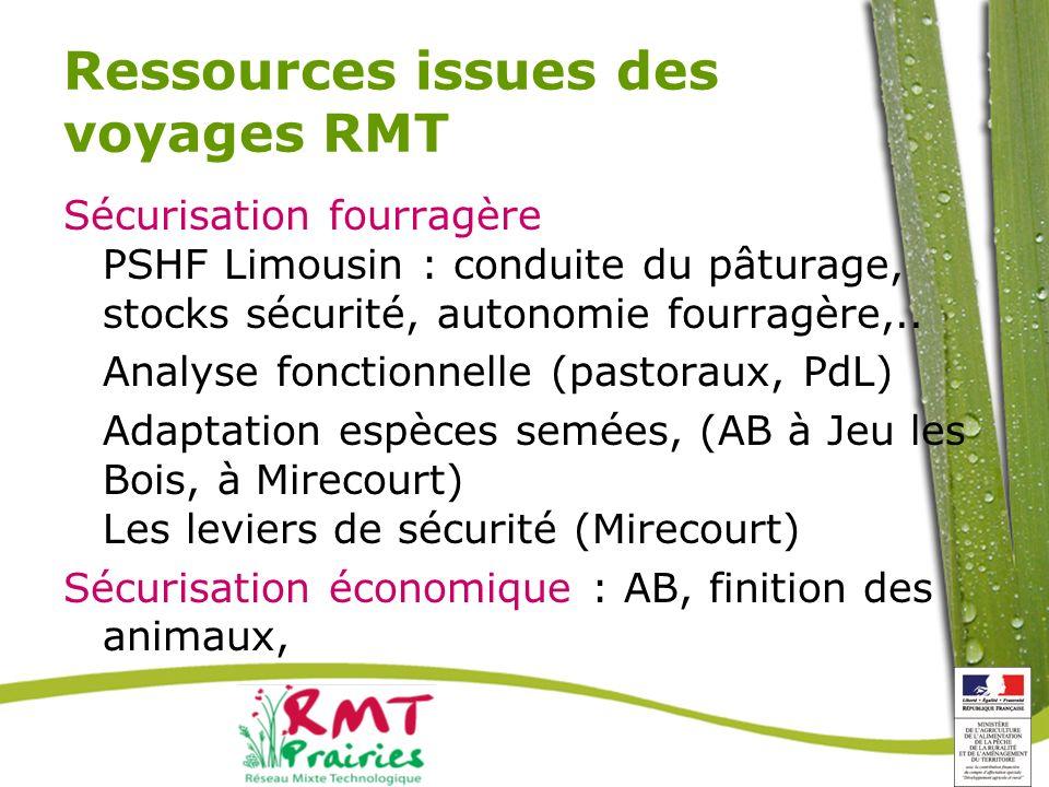 Ressources issues des voyages RMT Sécurisation fourragère PSHF Limousin : conduite du pâturage, stocks sécurité, autonomie fourragère,..