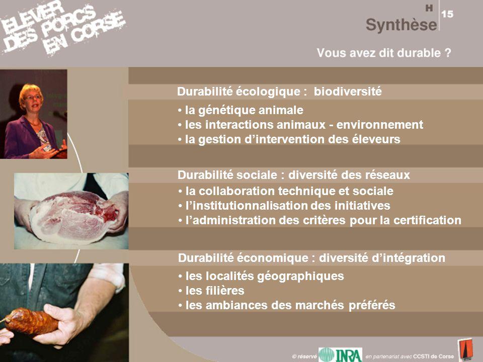 Durabilité écologique : biodiversité la génétique animale les interactions animaux - environnement la gestion dintervention des éleveurs Durabilité so