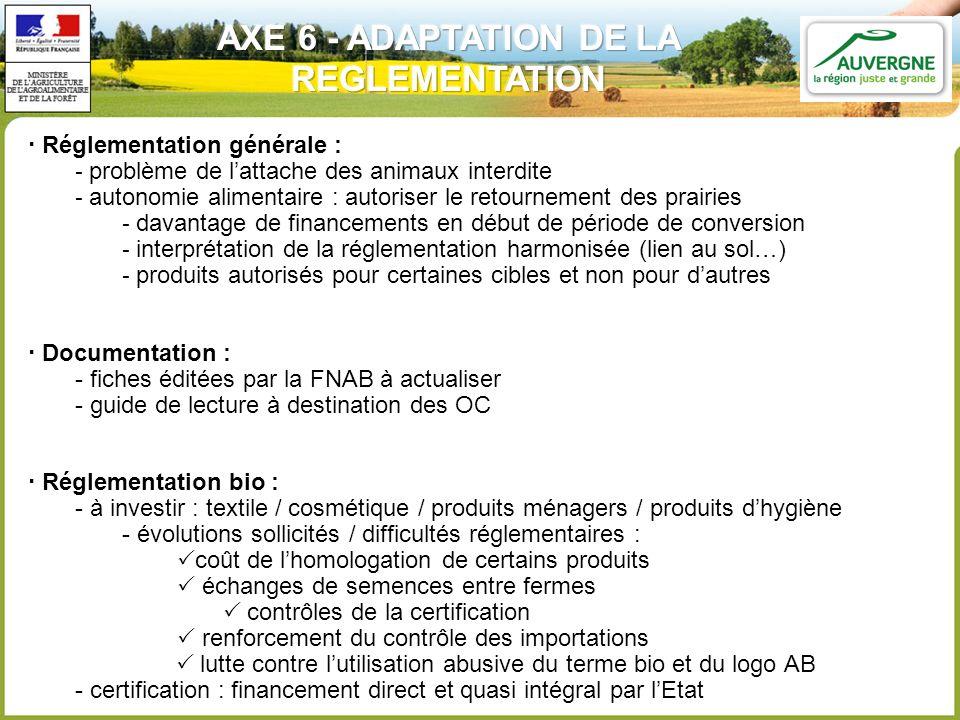 Réglementation générale : - problème de lattache des animaux interdite - autonomie alimentaire : autoriser le retournement des prairies - davantage de