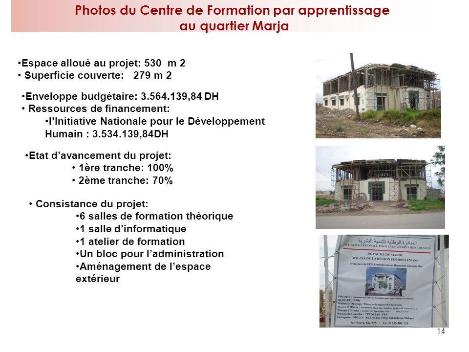 14 Photos du Centre de Formation par apprentissage au quartier Marja Etat davancement du projet: 1ère tranche: 100% 2ème tranche: 70% Espace alloué au