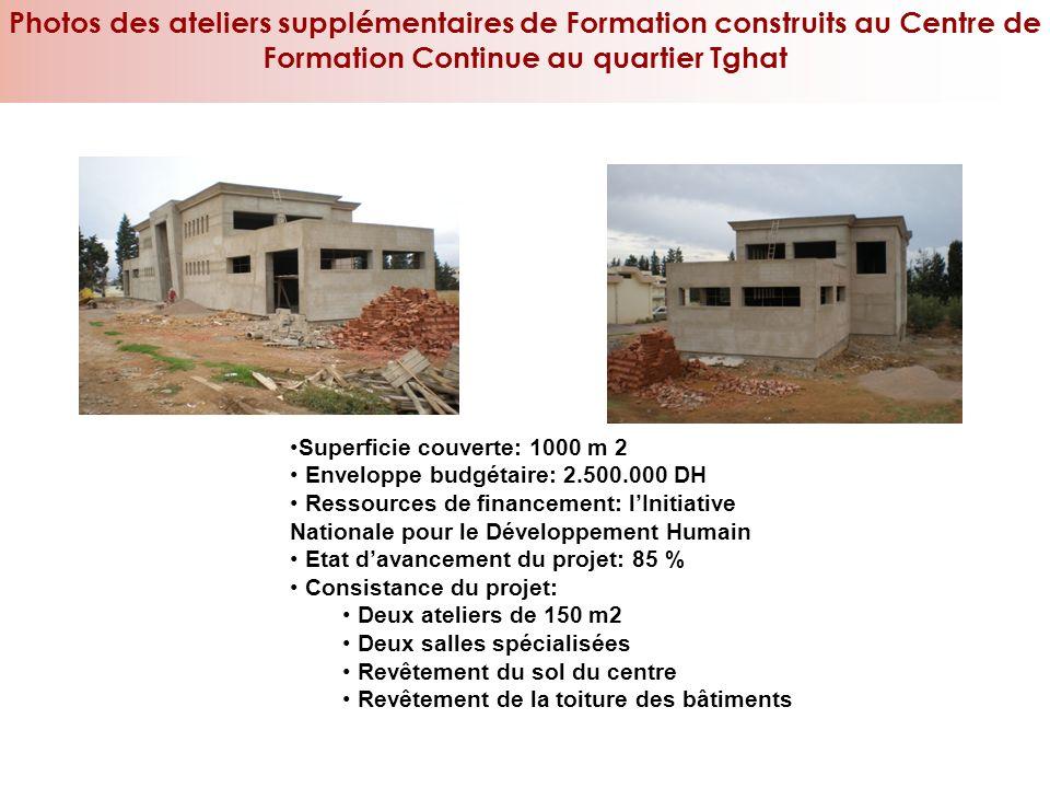 Superficie couverte: 1000 m 2 Enveloppe budgétaire: 2.500.000 DH Ressources de financement: lInitiative Nationale pour le Développement Humain Etat da