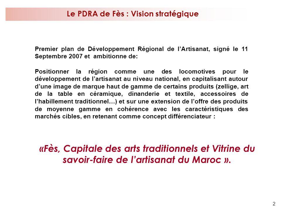 2 Le PDRA de Fès : Vision stratégique «Fès, Capitale des arts traditionnels et Vitrine du savoir-faire de lartisanat du Maroc ». Premier plan de Dével