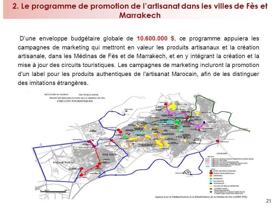 21 2. Le programme de promotion de lartisanat dans les villes de Fès et Marrakech Dune enveloppe budgétaire globale de 10.600.000 $, ce programme appu