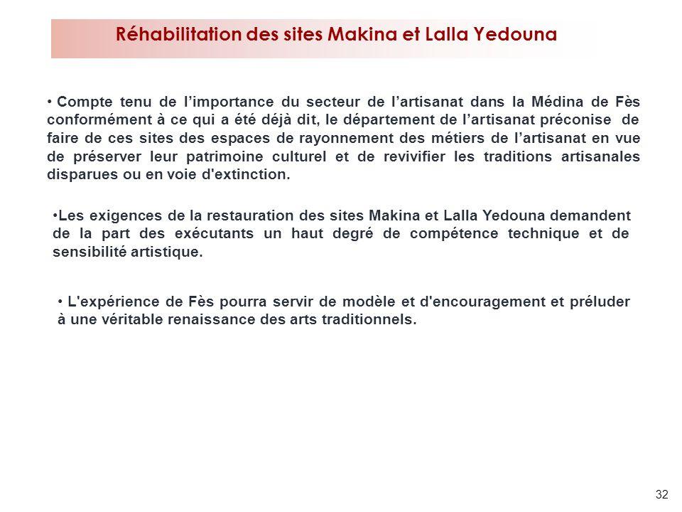 32 Réhabilitation des sites Makina et Lalla Yedouna Les exigences de la restauration des sites Makina et Lalla Yedouna demandent de la part des exécut