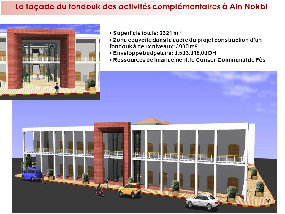 36 La façade du fondouk des activités complémentaires à Ain Nokbi Superficie totale: 3321 m ² Zone couverte dans le cadre du projet construction dun f