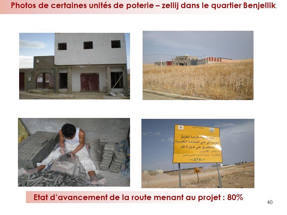 40 Photos de certaines unités de poterie – zellij dans le quartier Benjellik Etat davancement de la route menant au projet : 80%