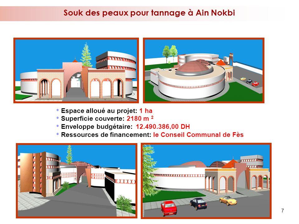 7 Souk des peaux pour tannage à Ain Nokbi Espace alloué au projet: 1 ha Superficie couverte: 2180 m 2 Enveloppe budgétaire: 12.490.386,00 DH Ressource
