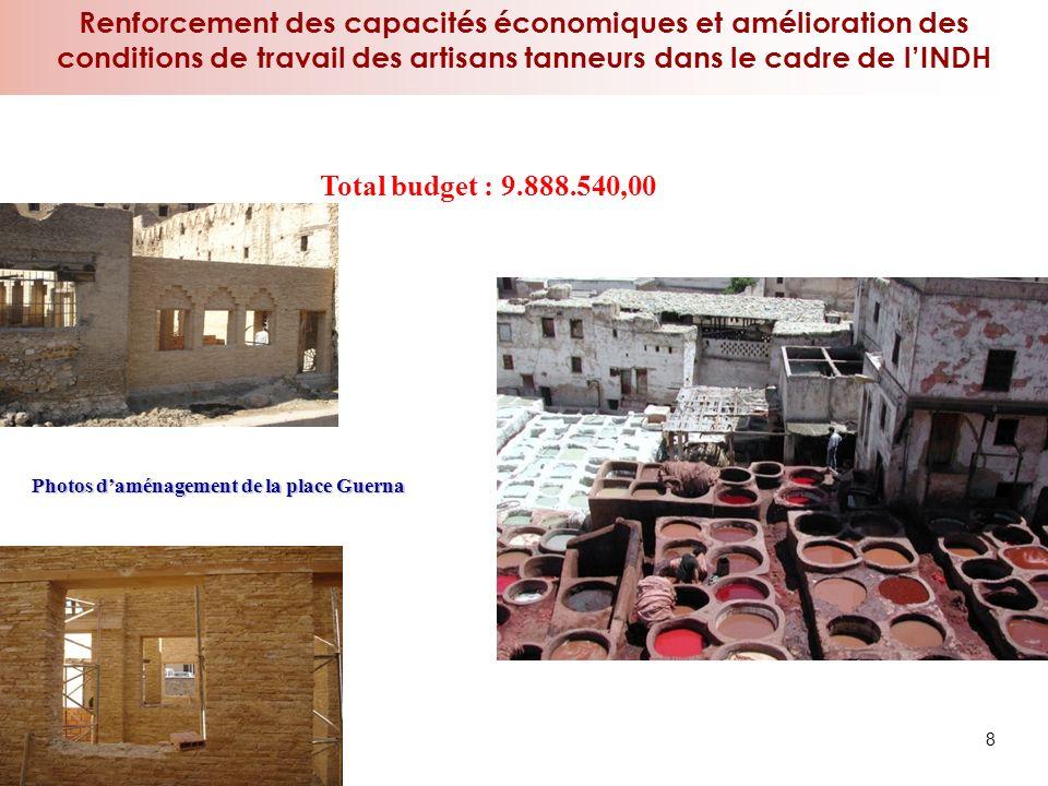 Renforcement des capacités économiques et amélioration des conditions de travail des artisans tanneurs dans le cadre de lINDH 8 Total budget : 9.888.5