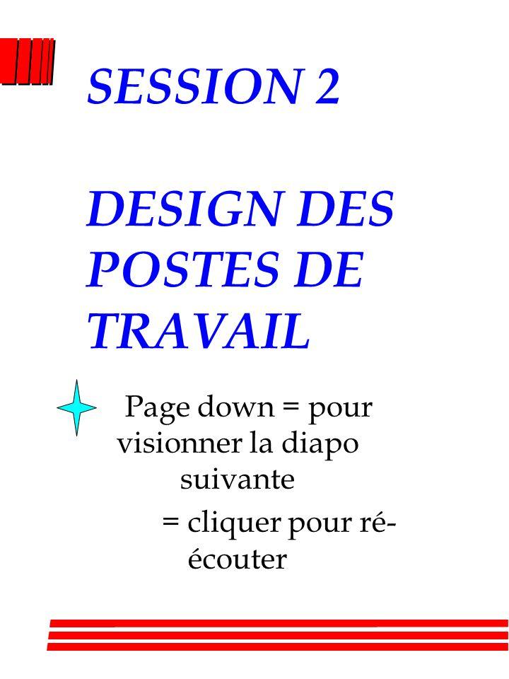 SESSION 2 DESIGN DES POSTES DE TRAVAIL Page down = pour visionner la diapo suivante = cliquer pour ré- écouter