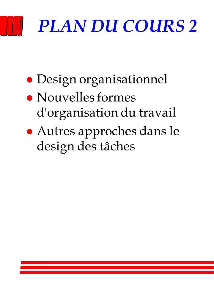 PLAN DU COURS 2 l Design organisationnel l Nouvelles formes d organisation du travail l Autres approches dans le design des tâches