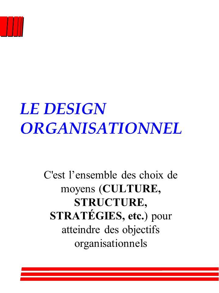 LE DESIGN ORGANISATIONNEL C est lensemble des choix de moyens (CULTURE, STRUCTURE, STRATÉGIES, etc.) pour atteindre des objectifs organisationnels