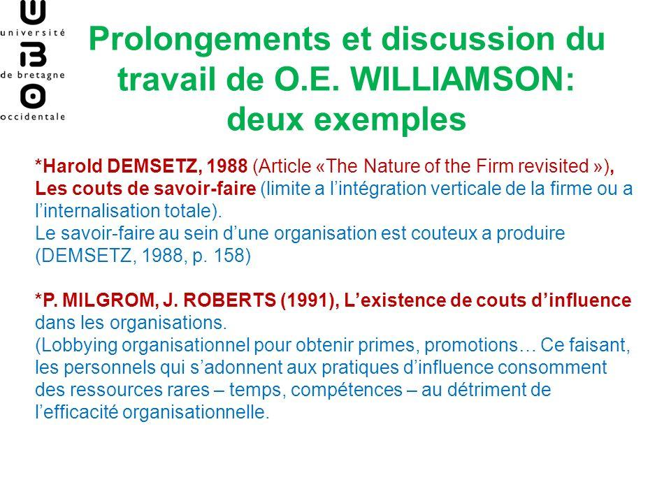 Prolongements et discussion du travail de O.E. WILLIAMSON: deux exemples *Harold DEMSETZ, 1988 (Article «The Nature of the Firm revisited »), Les cout