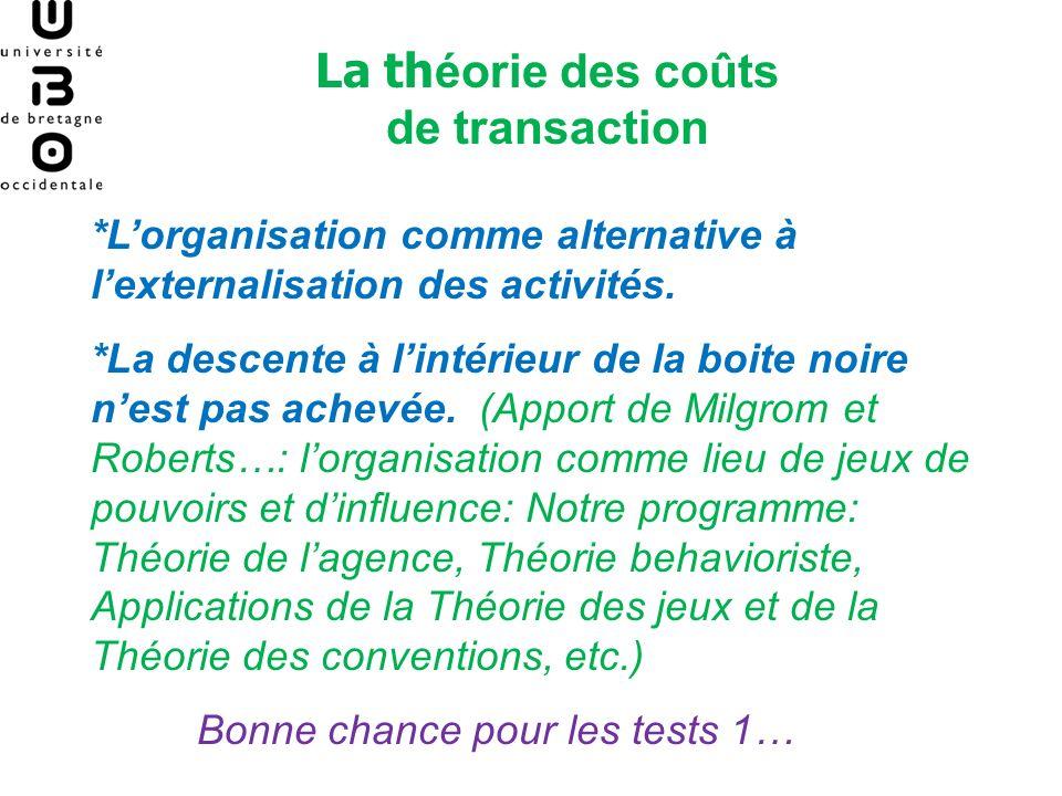 La th éorie des coûts de transaction *Lorganisation comme alternative à lexternalisation des activités. *La descente à lintérieur de la boite noire ne