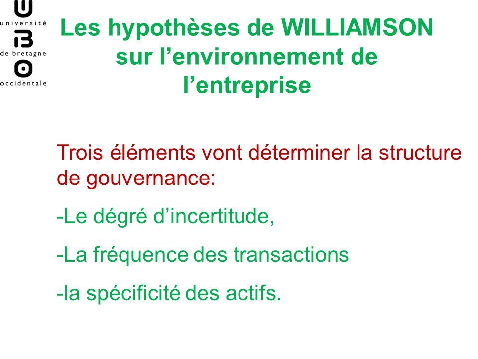 Les hypothèses de WILLIAMSON sur lenvironnement de lentreprise Trois éléments vont déterminer la structure de gouvernance: -Le dégré dincertitude, -La