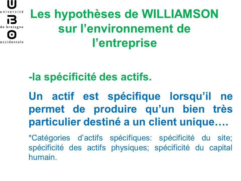 Les hypothèses de WILLIAMSON sur lenvironnement de lentreprise -la spécificité des actifs. Un actif est spécifique lorsquil ne permet de produire quun