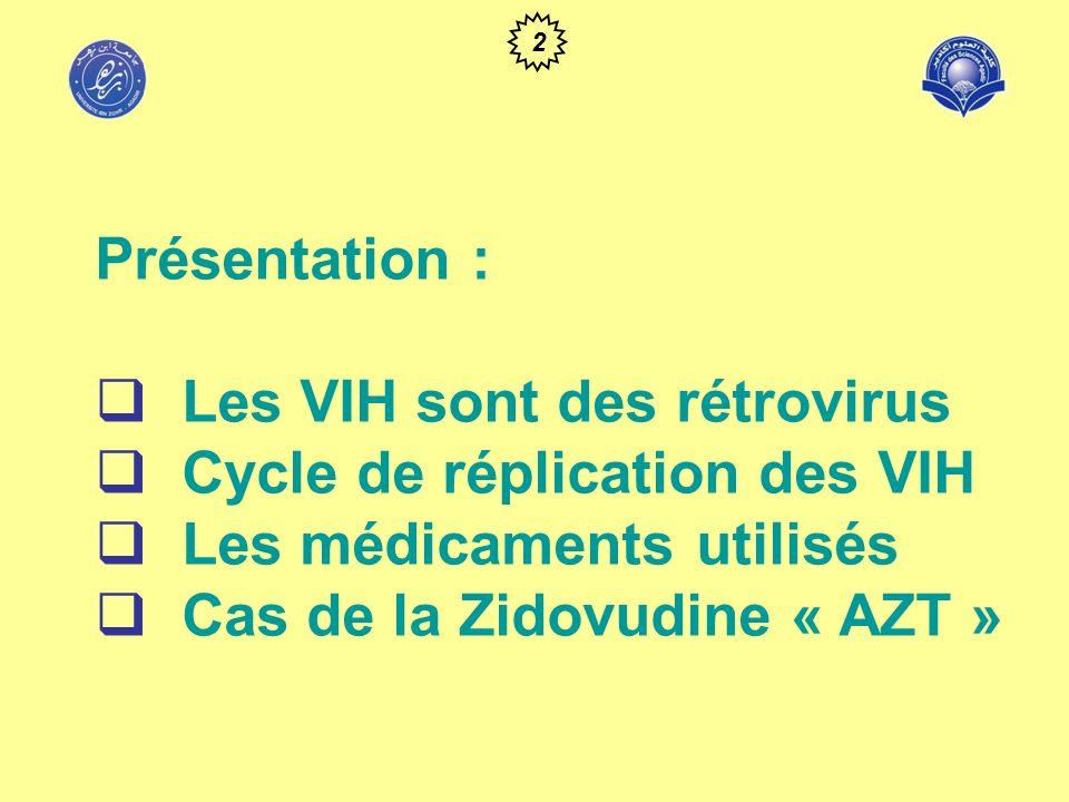 Les médicaments utilisés* * : seuls les médicaments prescrits au Maroc sont rapportés ici Inhibiteurs nucléosidiques « AZT » Effets indésirables : hématologiques : anémie, neutropénie digestifs : nausées, vomissements, douleurs abdominales neurologiques : céphalées, insomnie, myalgies, asthénie.