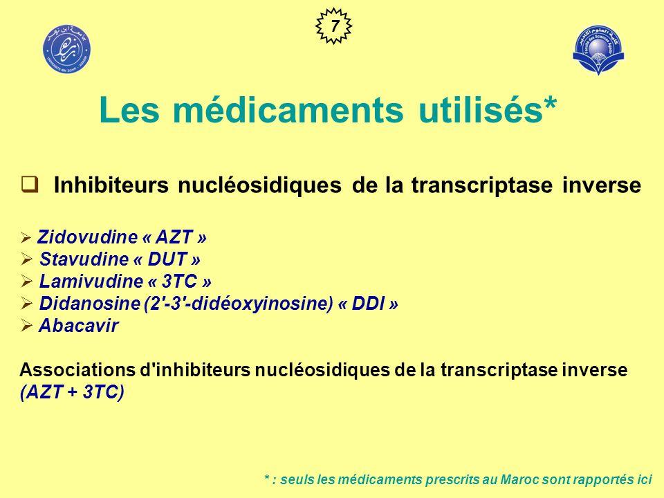 Inhibiteurs non nucléosidiques de la transcriptase inverse Névirapine Efavirenz * : seuls les médicaments prescrits au Maroc sont rapportés ici Les médicaments utilisés* 8
