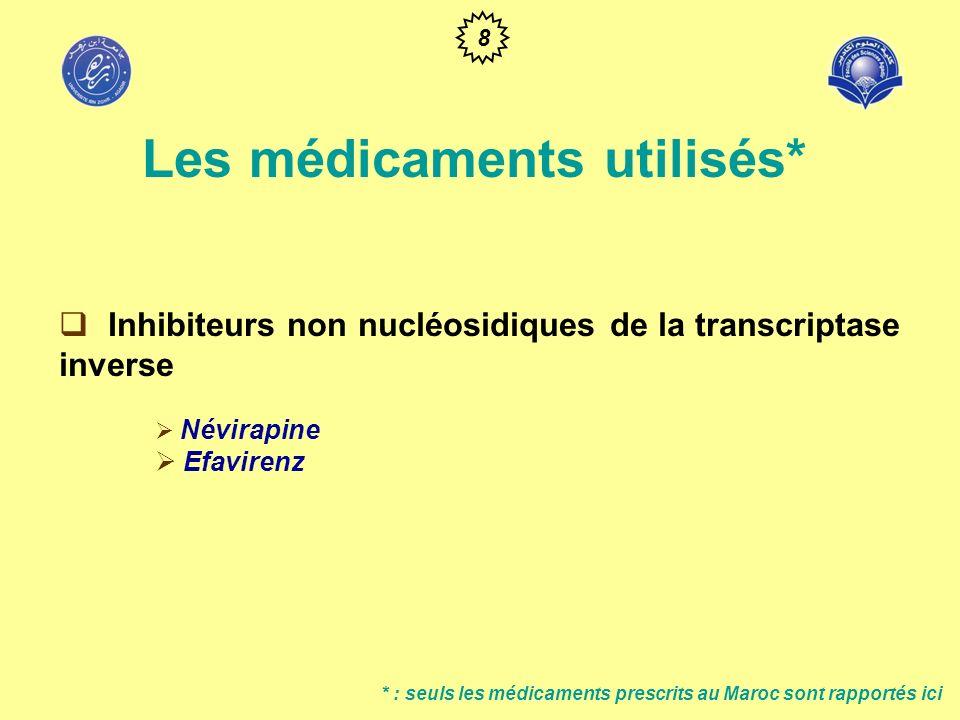 Inhibiteurs de la protéase du VIH Ritonavir Indinavir Nelfinavir Il existe une association lopinavir et ritonavir * : seuls les médicaments prescrits au Maroc sont rapportés ici Les médicaments utilisés* 9
