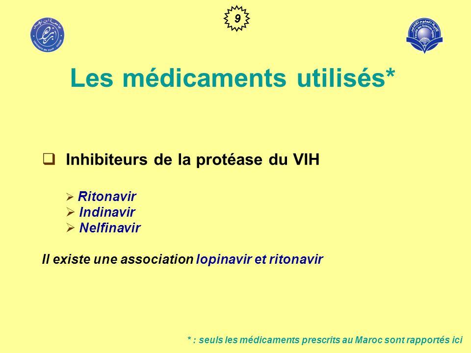 * : seuls les médicaments prescrits au Maroc sont rapportés ici Associations de médicaments : 2 IN** + (1 INN, soit 1 AP) 3 IN (Abacavir + 2 IN**) **Association de 2 IN : AZT & (3TC soit DDI) DUT & (3TC soit DDI) 10