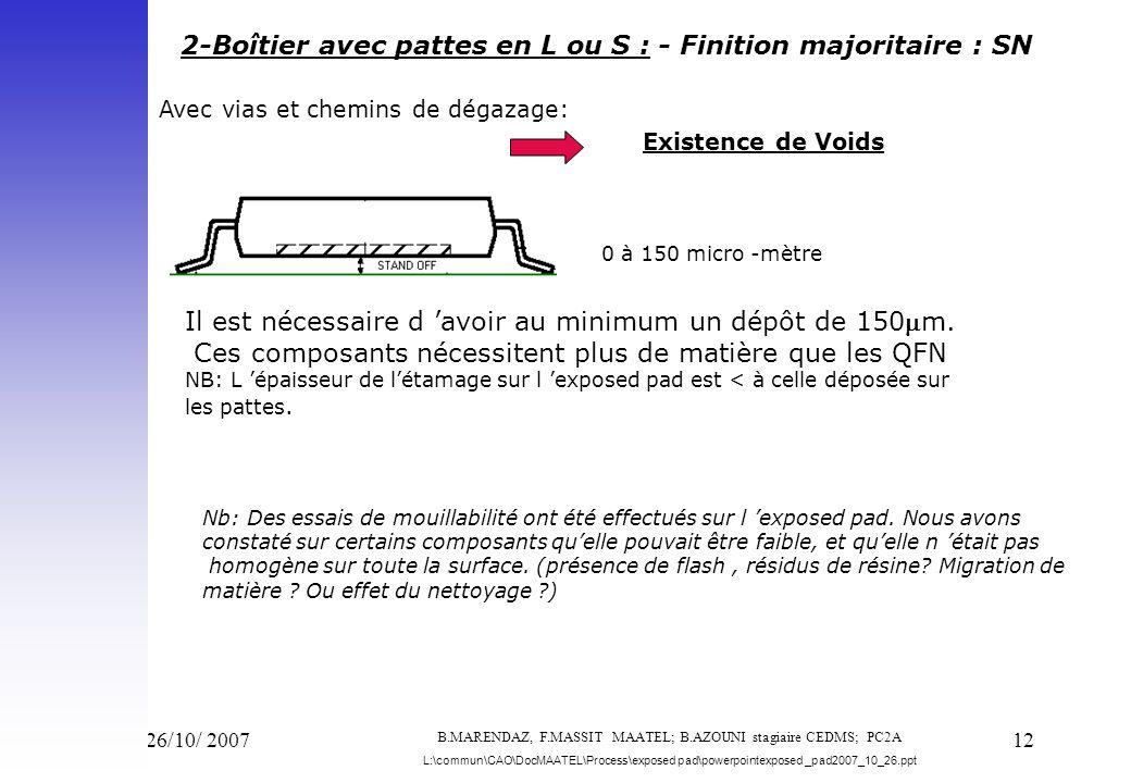 Vend 26/10/ 200712 2-Boîtier avec pattes en L ou S : - Finition majoritaire : SN 0 à 150 micro -mètre Il est nécessaire d avoir au minimum un dépôt de