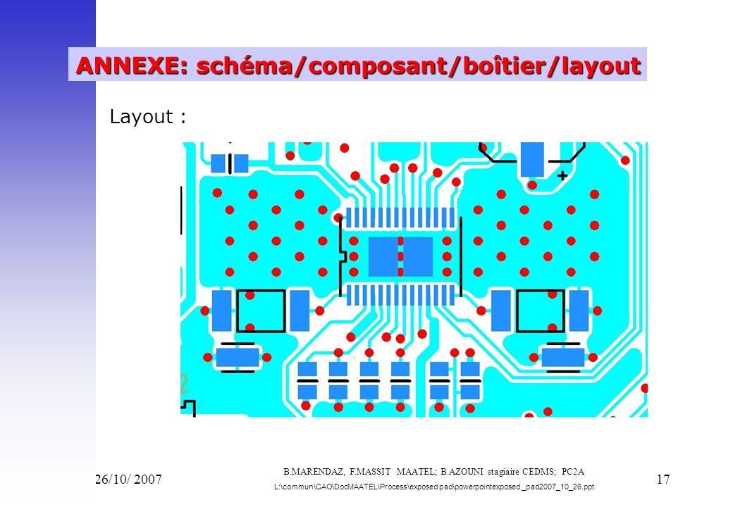 Vend 26/10/ 200717 ANNEXE: schéma/composant/boîtier/layout Layout : B.MARENDAZ, F.MASSIT MAATEL; B.AZOUNI stagiaire CEDMS; PC2A L:\commun\CAO\DocMAATE