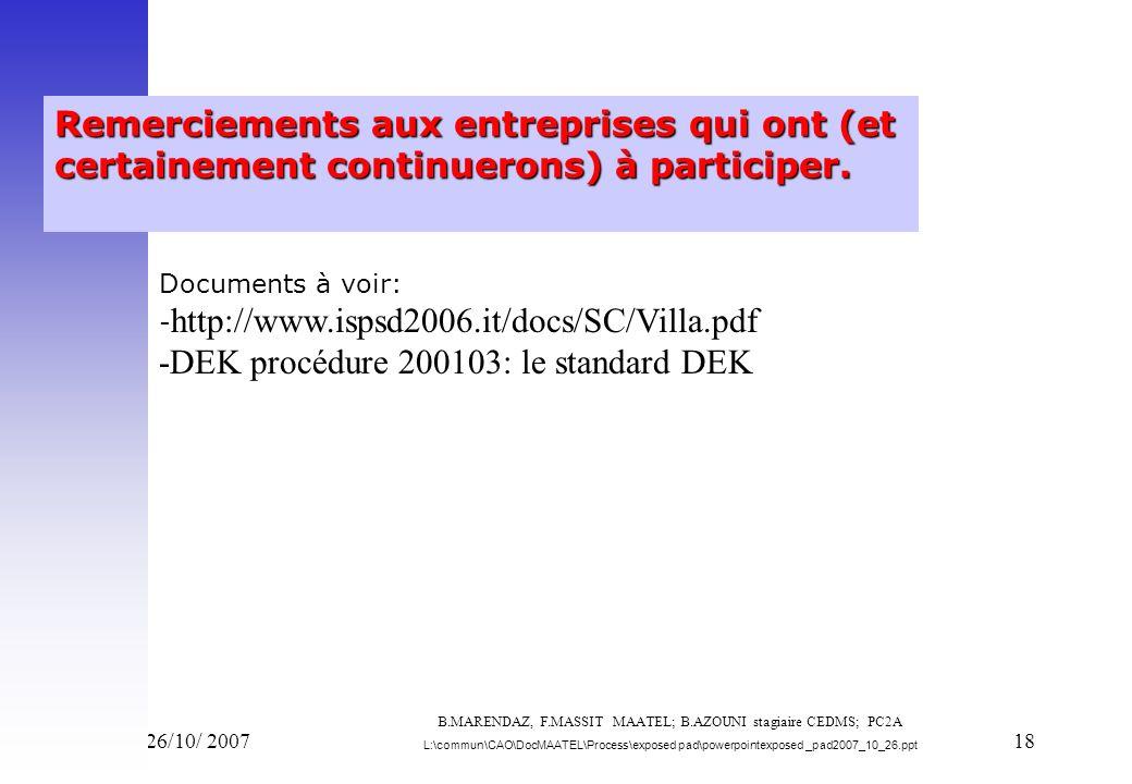 Vend 26/10/ 200718 Remerciements aux entreprises qui ont (et certainement continuerons) à participer. Documents à voir: - http://www.ispsd2006.it/docs