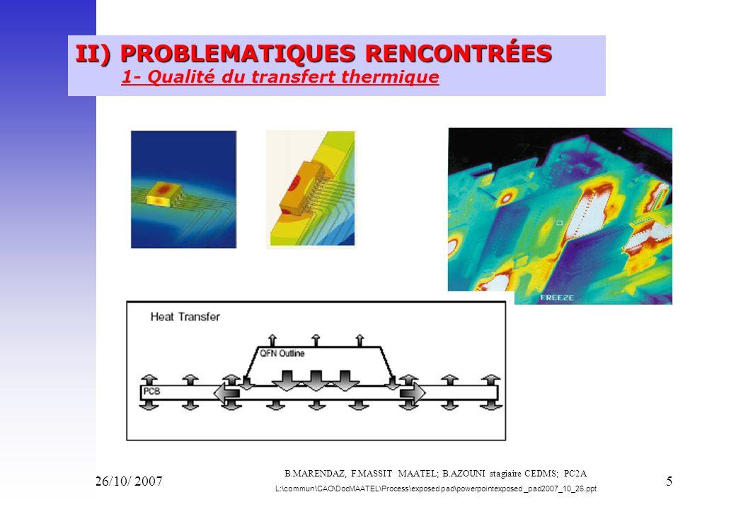 Vend 26/10/ 20076 PROBLEMATIQUES RENCONTRÉES PROBLEMATIQUES RENCONTRÉES thermique 1- Qualité du transfert thermique - CAO Le circuit imprimé doit être conçu pour permettre de dissiper la puissance définie dans la spécification du composant.