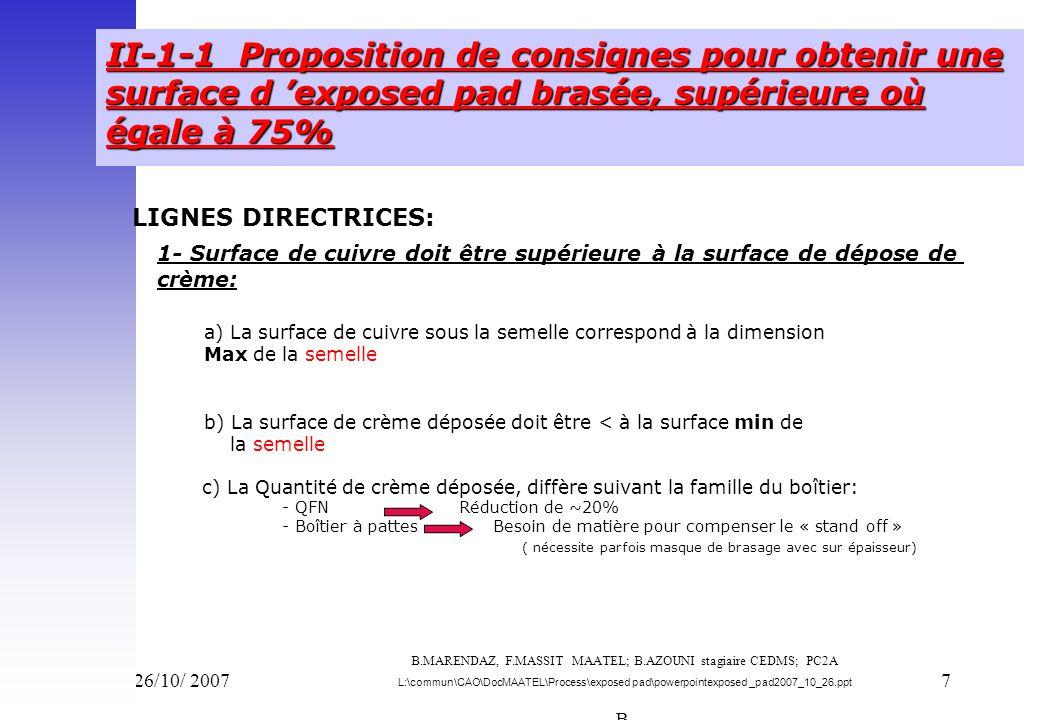 Vend 26/10/ 20077 II-1-1 Proposition de consignes pour obtenir une surface d exposed pad brasée, supérieure où égale à 75% LIGNES DIRECTRICES: a) La s