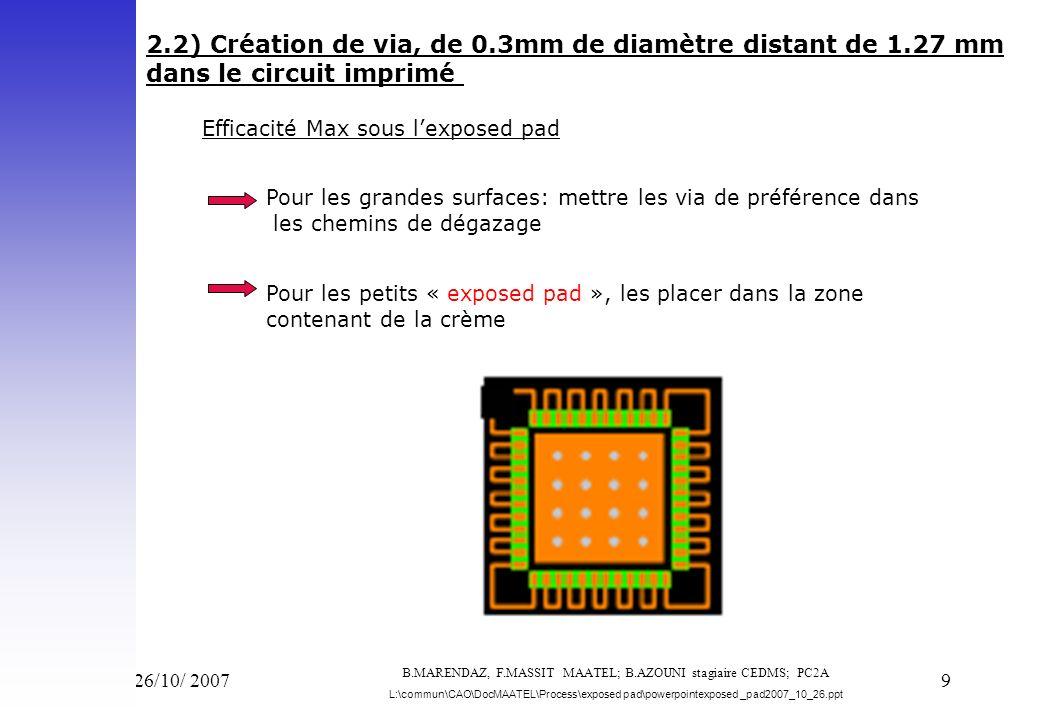 Vend 26/10/ 200710 3) Profil de température adapté 3-1) Contrôle de la température sous « l exposed pad » lors de la mise au point de la refusion (thermocouple traversant le circuit imprimé) 3-2) Refroidissement contrôlé en sortie de refusion: Pour limiter le stress du composant pente < 3°C/s (ne pas bloquer la sortie des gaz dus au flux) B.MARENDAZ, F.MASSIT MAATEL; B.AZOUNI stagiaire CEDMS; PC2A L:\commun\CAO\DocMAATEL\Process\exposed pad\powerpointexposed _pad2007_10_26.ppt