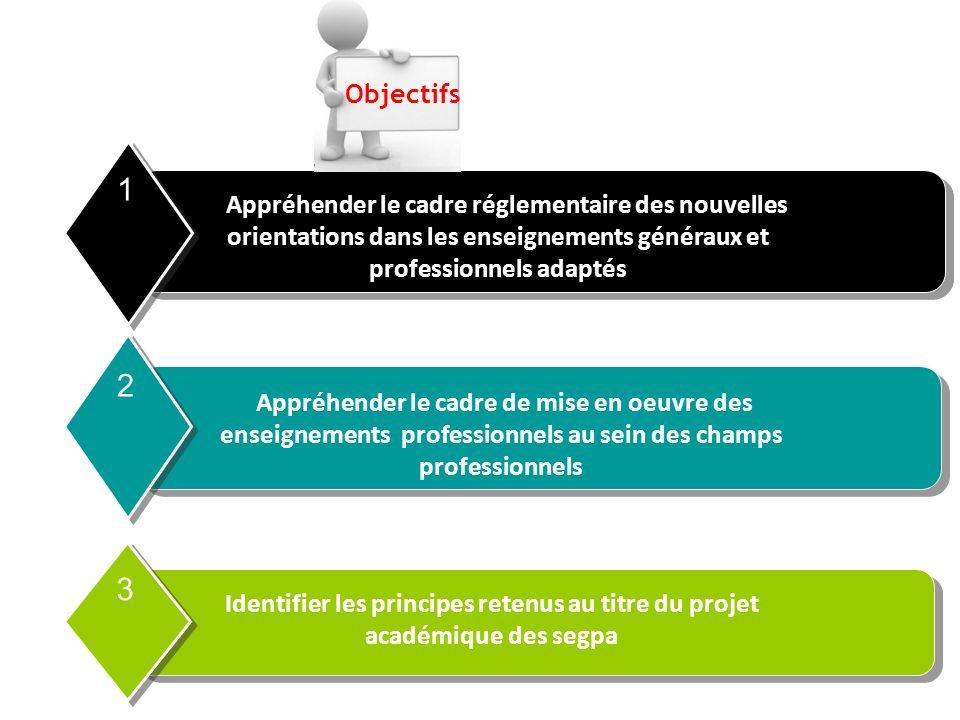 Appréhender le cadre réglementaire des nouvelles orientations dans les enseignements généraux et professionnels adaptés 1 Appréhender le cadre de mise